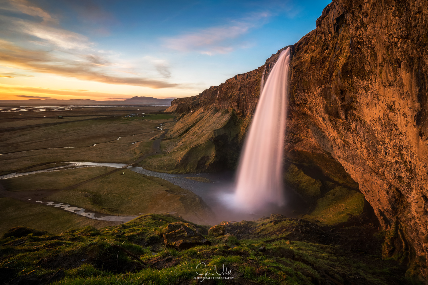 Sunset at Seljalandsfoss