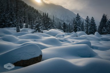 Mounds of Snow in Little Cottonwood Canyon