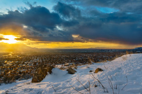 Snowy March Sunset in Salt Lake