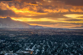 Golden Winter Sunset in Salt Lake City