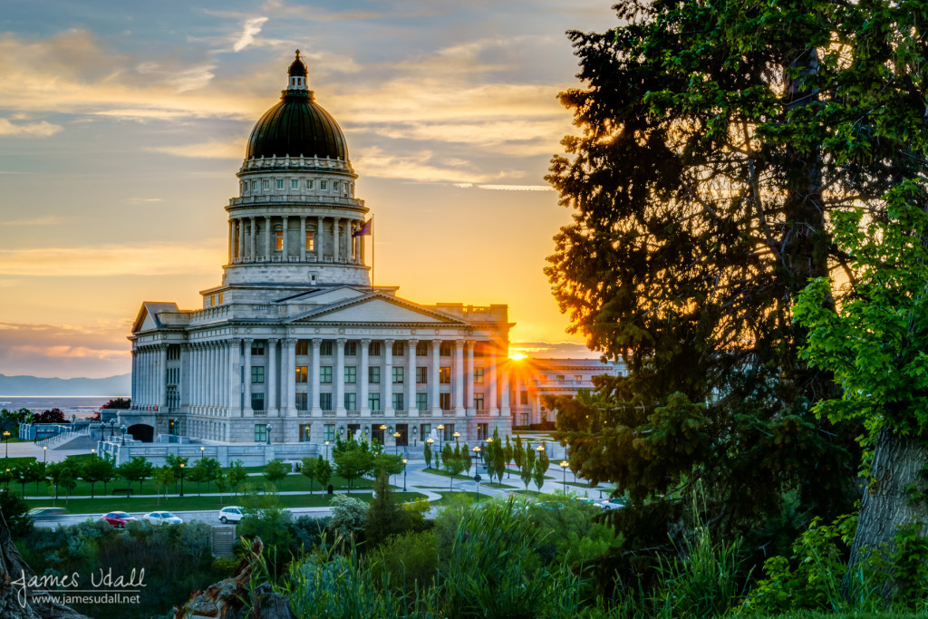 Sunset at Utah State Capitol