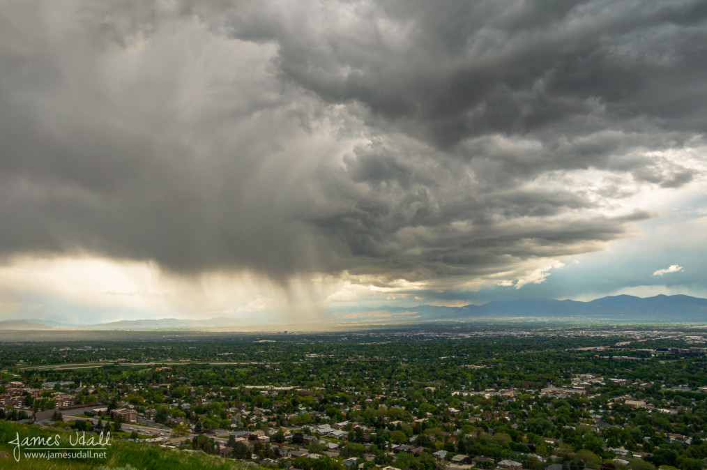 Rainstorms moving in over Salt Lake