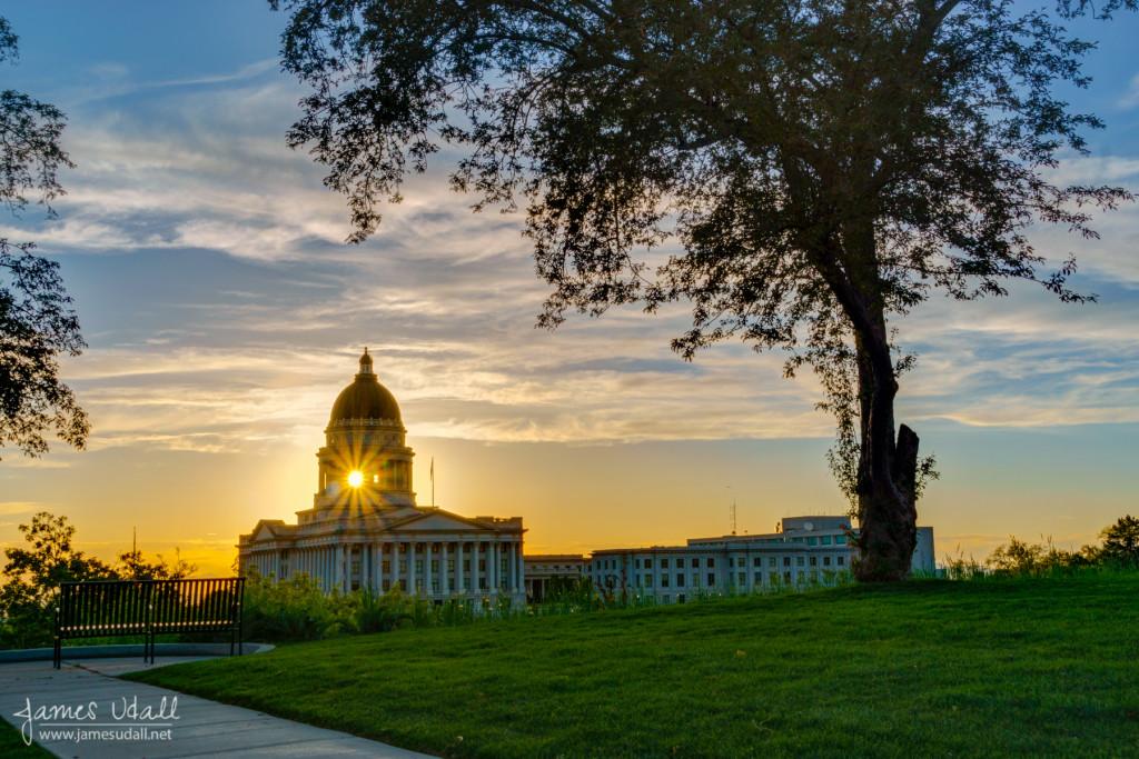 Sun Setting through Dome of Utah State Capitol