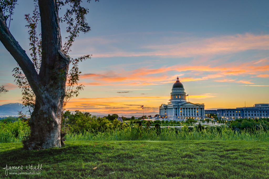 Viewing the Utah State Capitol at Sunset