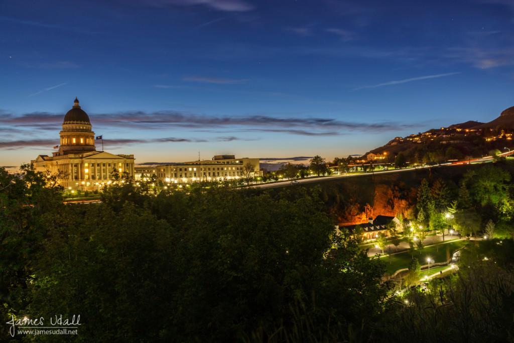 Utah State Capitol at Dusk