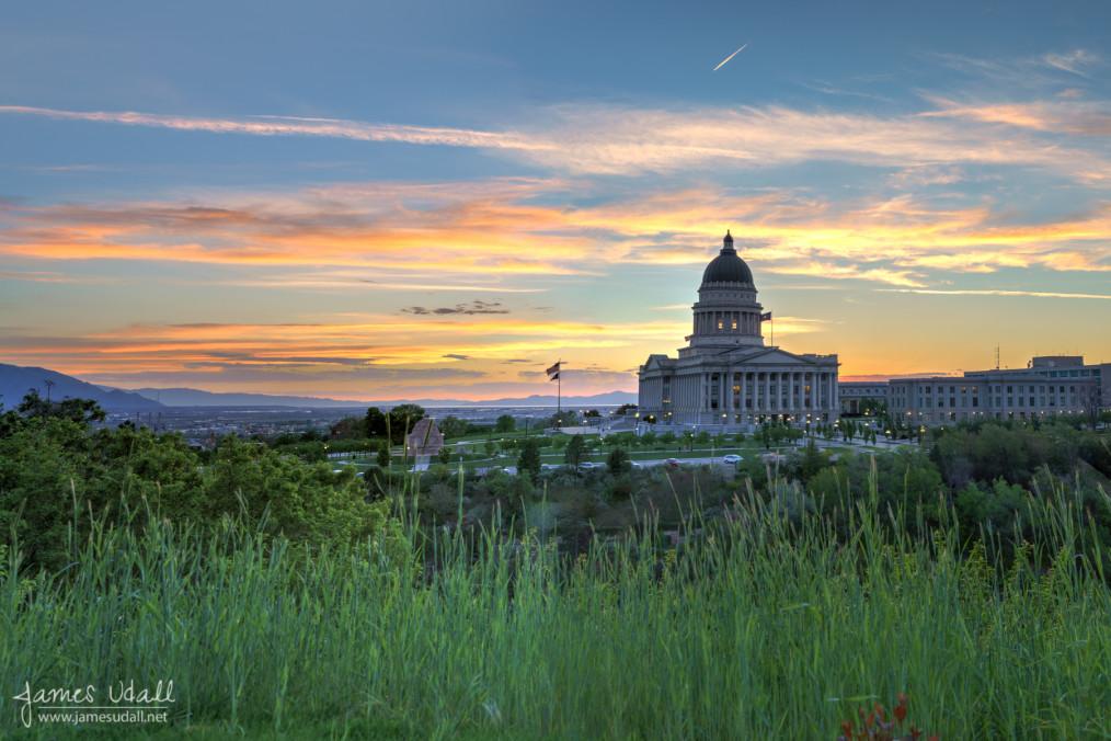 Utah State Capitol Pink Sunset