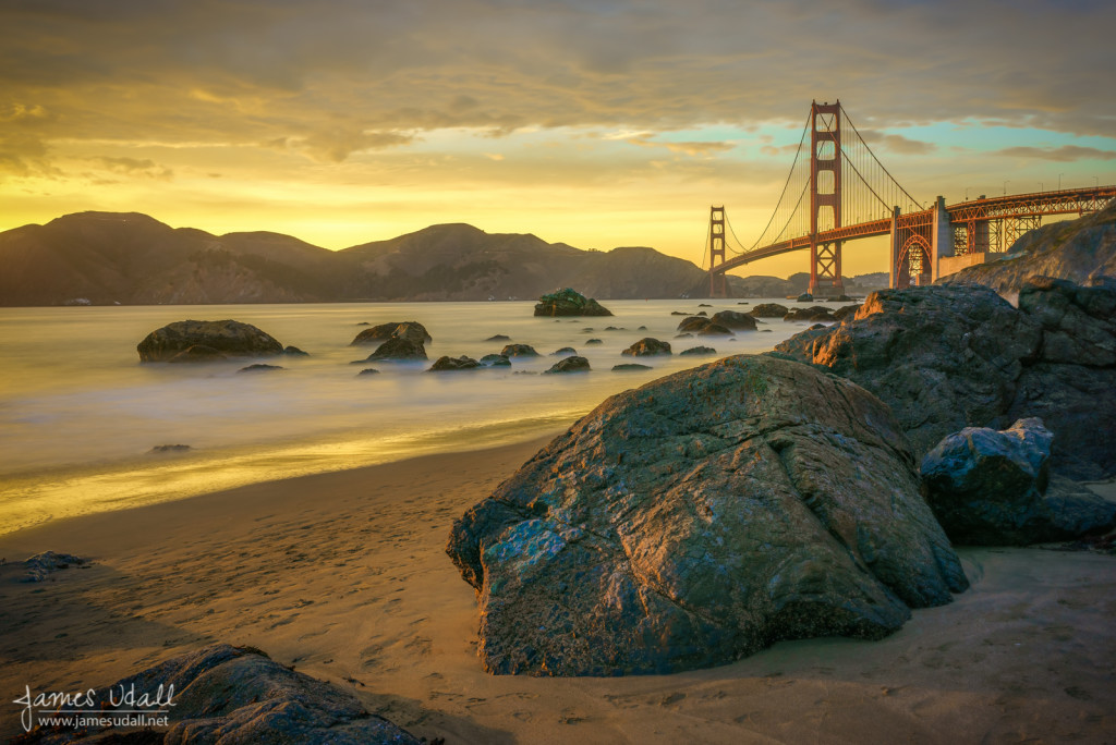 Golden Gate Rocks at Sunset