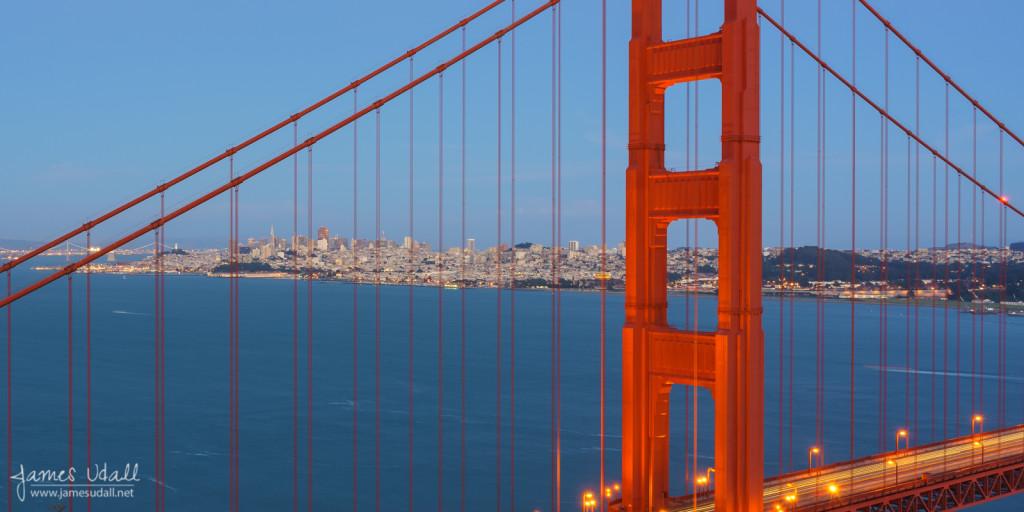 San Francisco Skyline at Dusk through Golden Gate Bridge