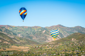 Two Hot Air Balloons Over Park City