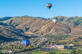 Three Hot Air Balloons over Park City, Utah