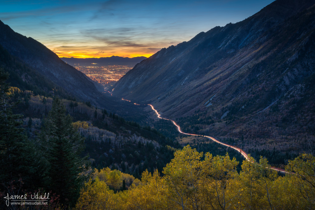 Dusk in Little Cottonwood Canyon at Dusk