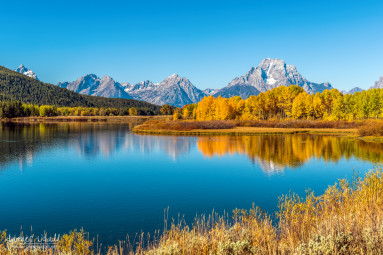 Mount Moran from the Snake River in Autumn