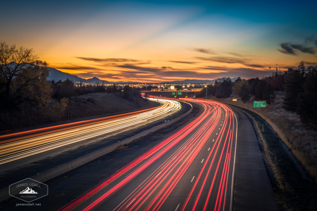 I-80 in Salt Lake City at dusk