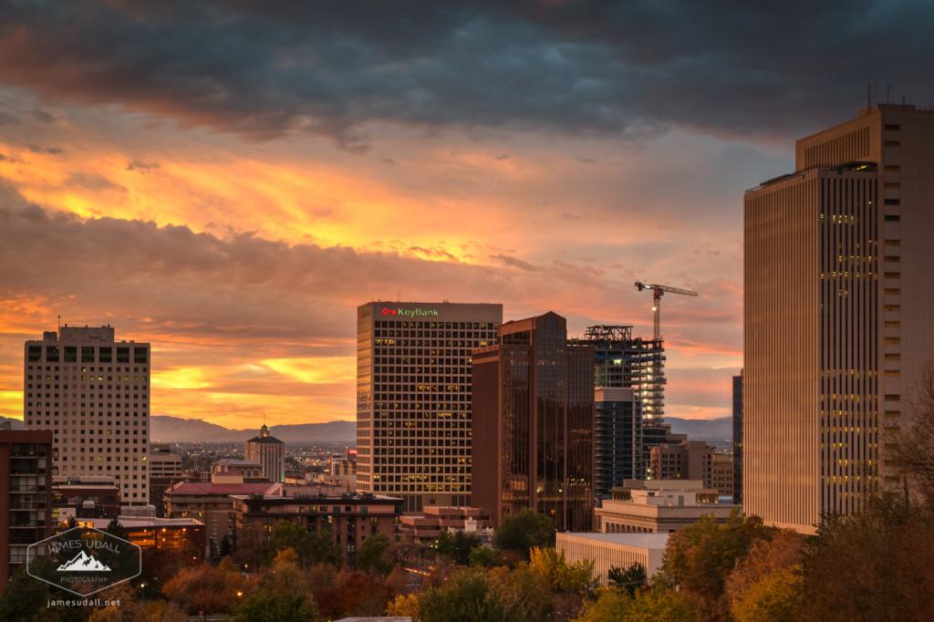 Sunrise over Downtown Salt Lake