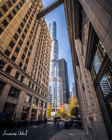 Trump Tower between Wrigley Buildings