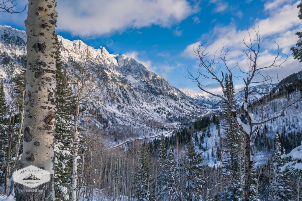 Winter in Little Cottonwood Canyon looking towards Snowbird Resort near Salt Lake City, Utah.