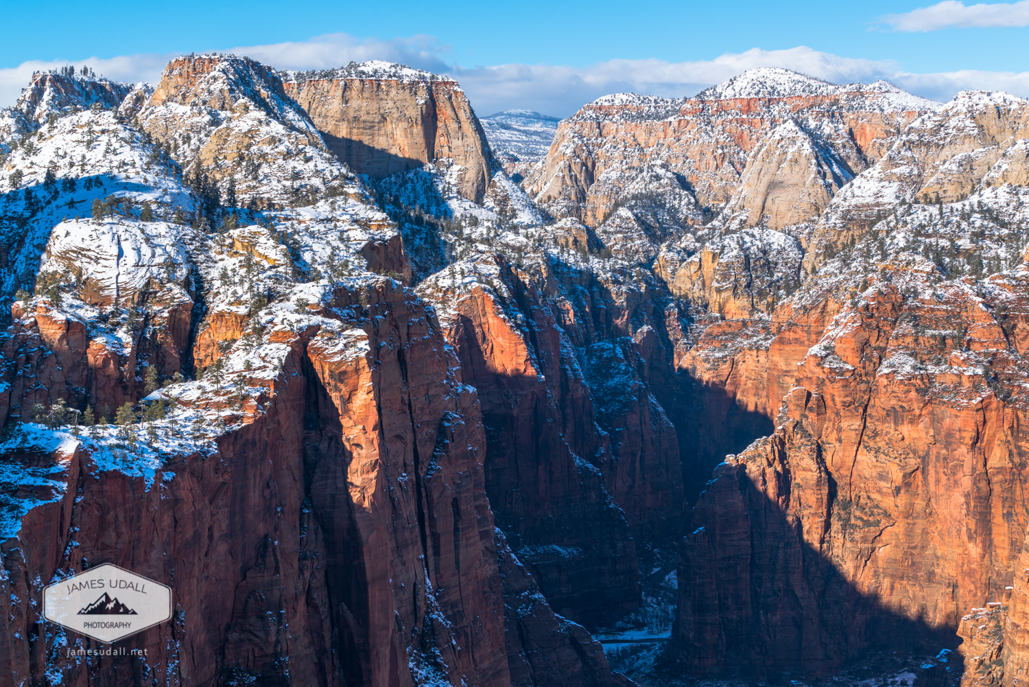 Snowy Cliffs of Zion National Park