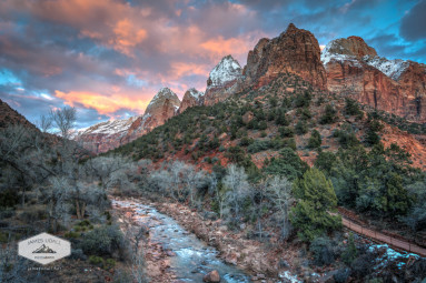 Wintery Sunset at Zion National Park