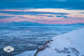Winter Sunrise view of the Great Salt Lake