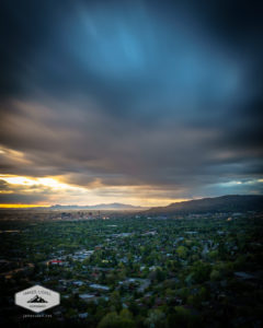 Cloudy Spring Sunset in Salt Lake City, Utah