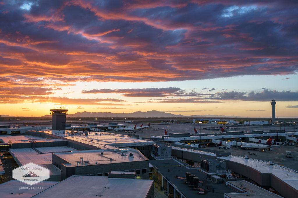 Sunset at Salt Lake City Int'l Airport
