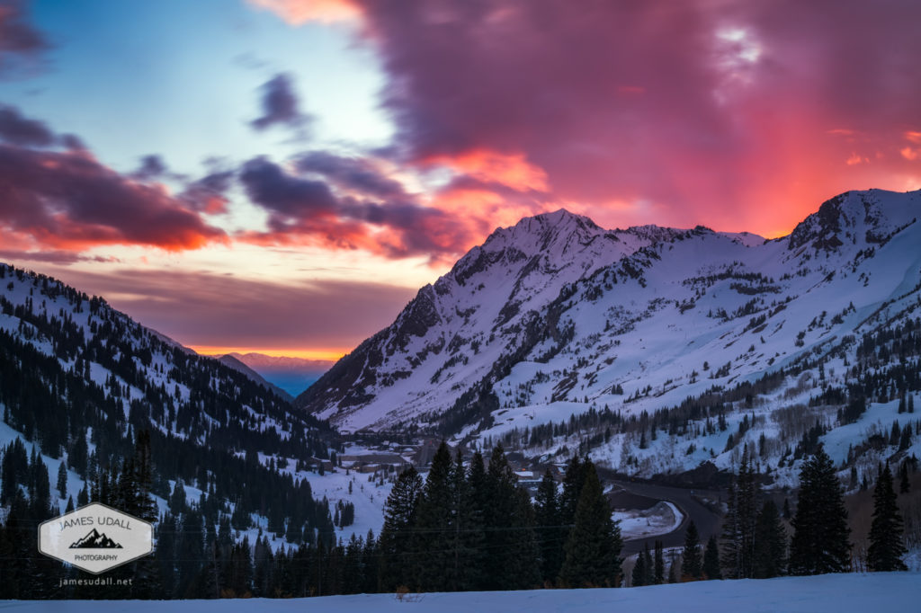Snowy Sunset in Little Cottonwood Canyon