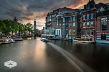 Sunset on the Amstel River in Amsterdam