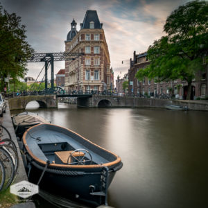 Canal and Boat in Amsterdam