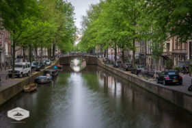 Street and Canal in Amsterdam