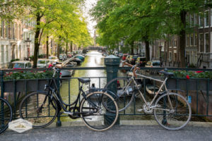 Bikes on a Canal Bridge in Amsterdam