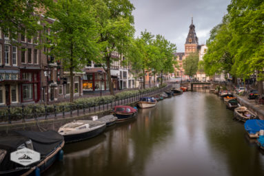 Boats along Amsterdam Canal