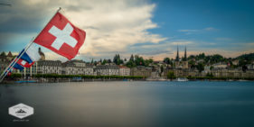 Lake Lucerne and Swiss Flag