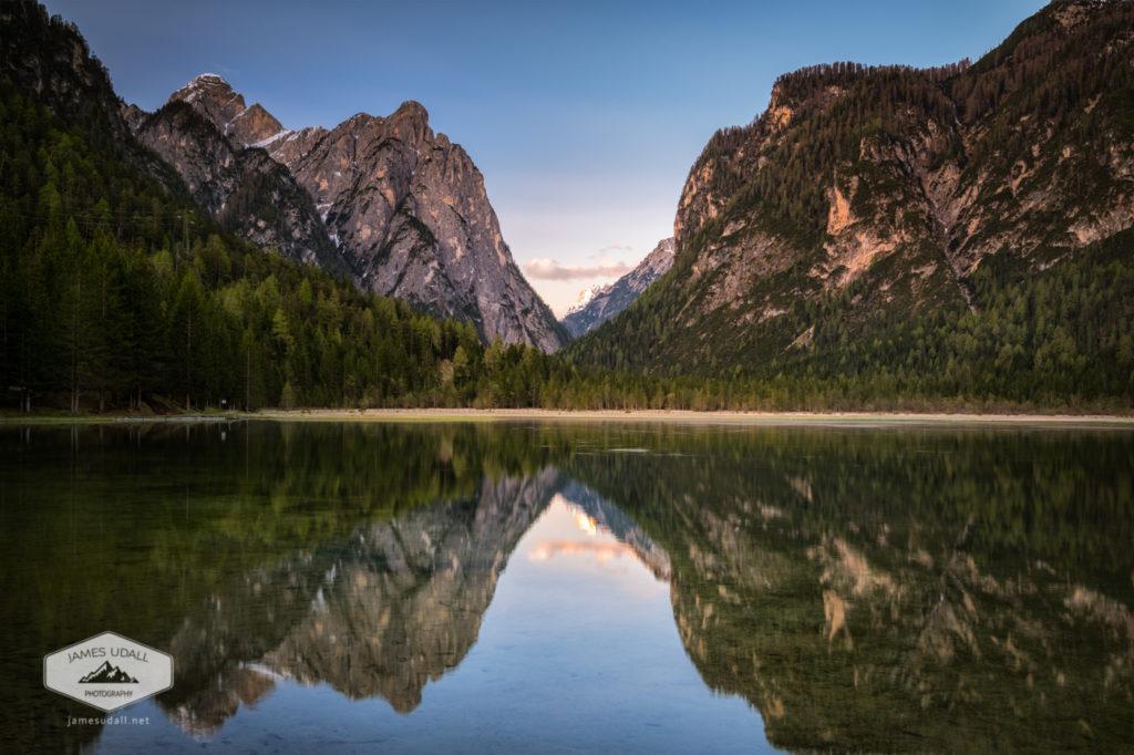 Lake Toblach in the Dolomites
