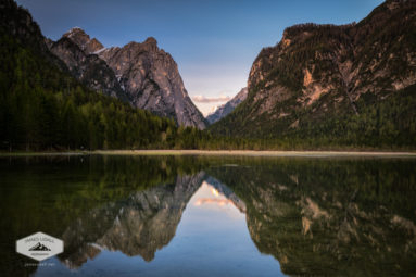 Lake Toblach in the Dolomites