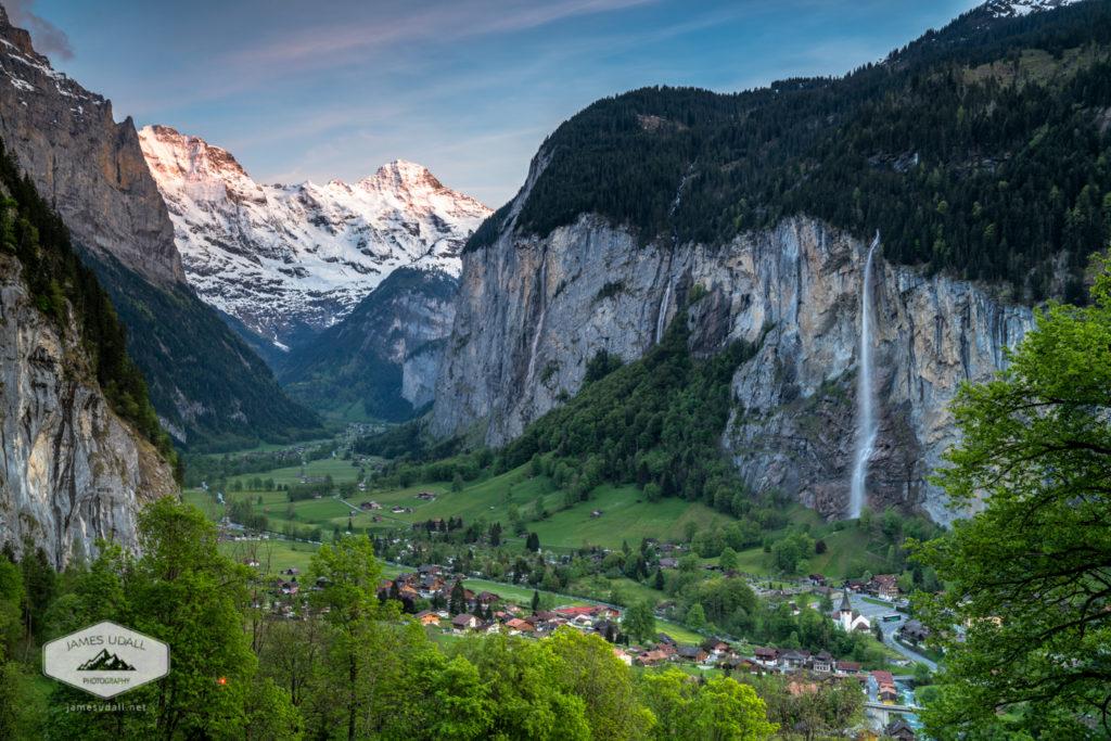 Sunset Above the Lauterbrunnen Valley in Switzerland.