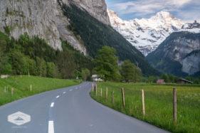 Road through the Lauterbrunnen Valley