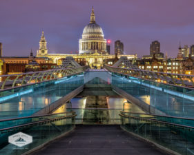 Millenium Bridge and St. Paul's Cathedral at Night