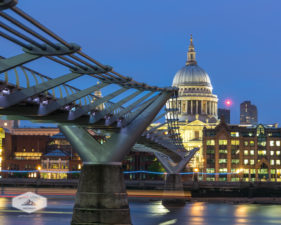 St. Paul's Cathedral Below Millenium Bridge at Night