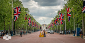 Union Jack Flags along the Mall in London