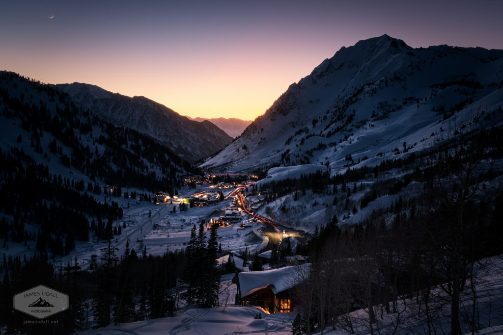 Looking on the town of Alta and Little Cottonwood Canyon at dusk.