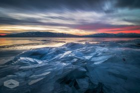 Icy Sunset at Utah Lake