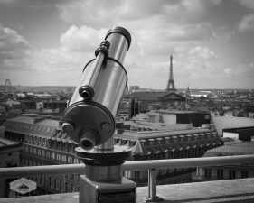 Telescope on Paris Rooftop