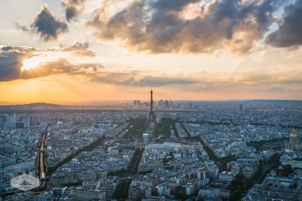 Elevated View of Paris at Sunset