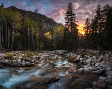 Little Cottonwood Creek Fall Sunset