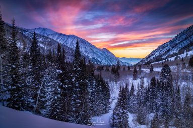 Colorful Winter Sunset in Little Cottonwood Canyon