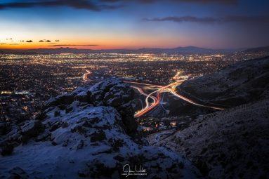 Wintery Night in Salt Lake City